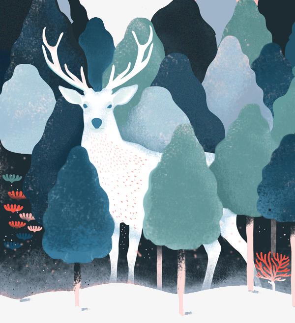 卡通手绘麋鹿森林