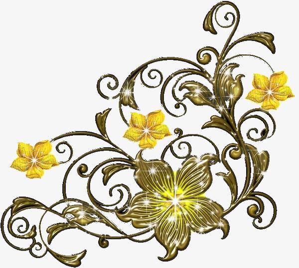 手绘金色欧式花藤