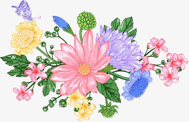 花丛    手绘  彩色 好看 卡通             此素材是90设计网官方