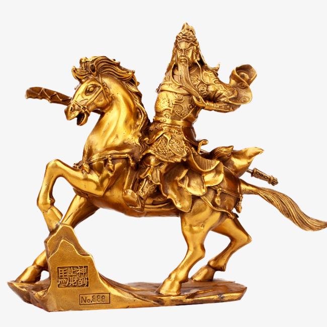 武财神关公骑马铜像