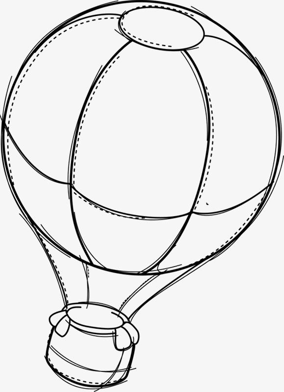 手绘热气球