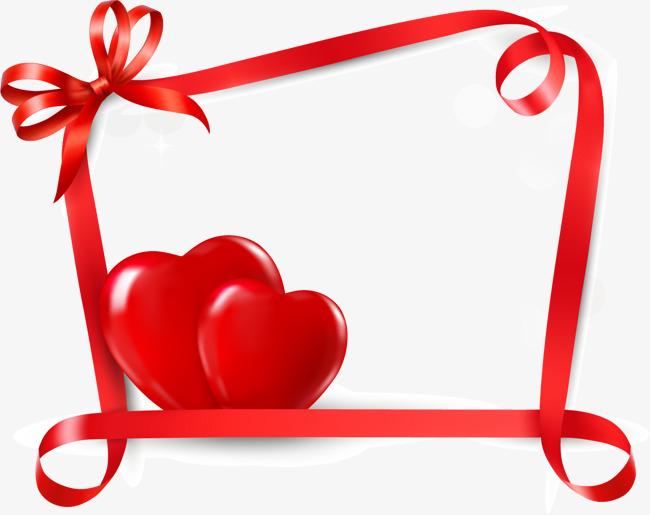 矢量手绘红色爱心边框