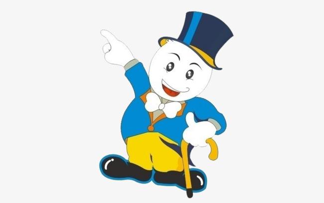 手绘蓝帽白脸拐杖卡通人物png素材-90设计