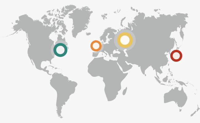 矢量创意设计世界地图主要区域图