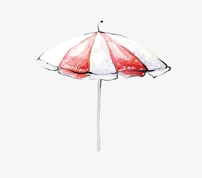 防晒伞手绘素材