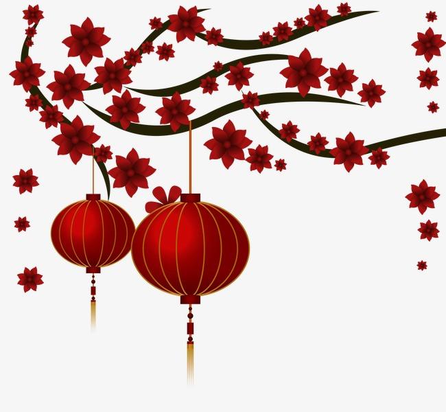 创意中国风树枝与灯笼素材设计