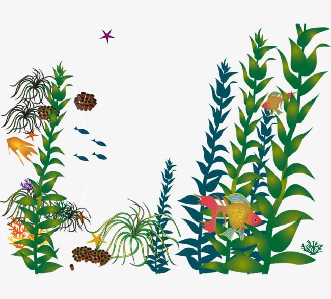 卡通手绘海底世界植物
