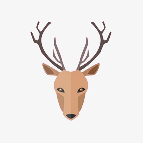 手绘鹿头装饰素材