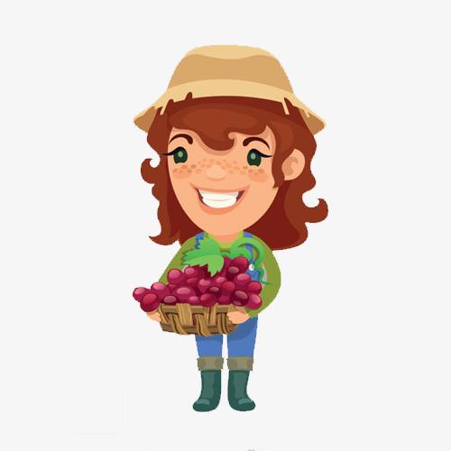 手绘女孩摘草莓素材