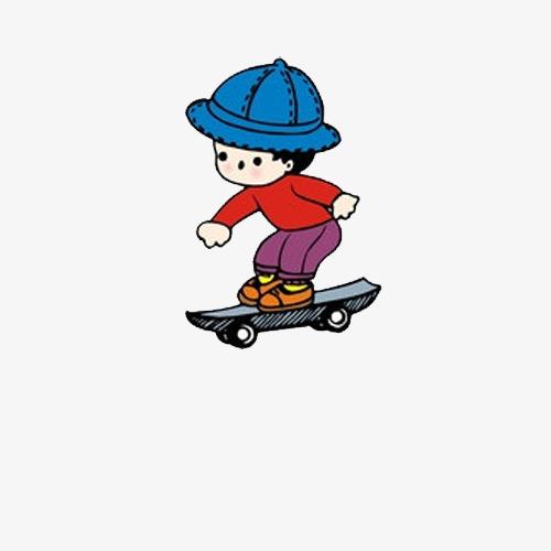 手绘卡通男孩滑板素材