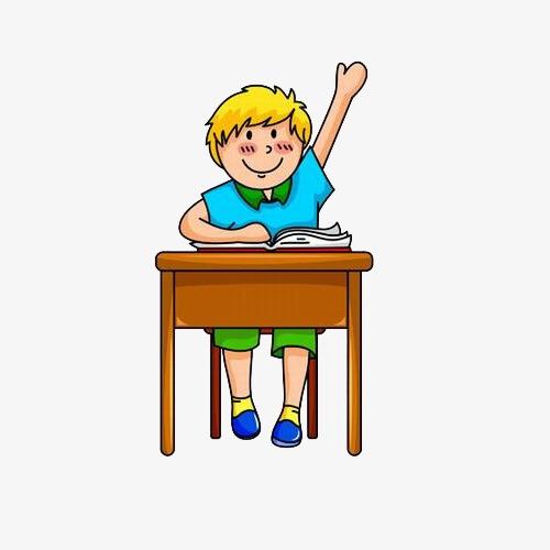 手绘卡通男孩上课举手素材