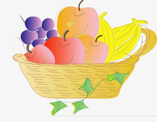 一篮子卡通水果图片