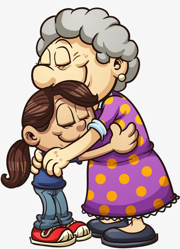 拥抱的奶奶和孙女