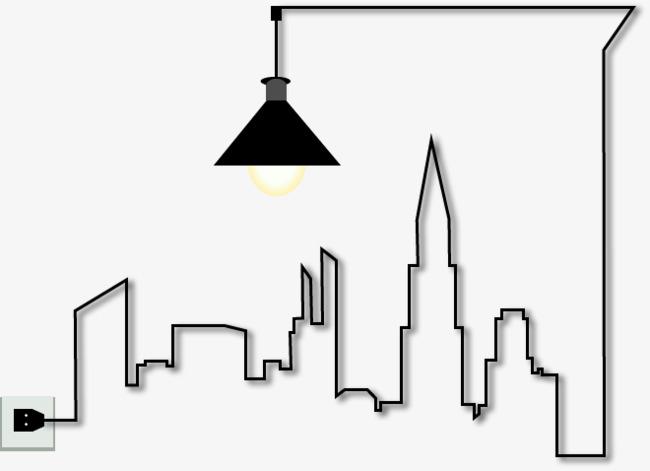 图片 > 【png】 手绘黑色线条建筑路灯  分类:装饰元素 类目:其他