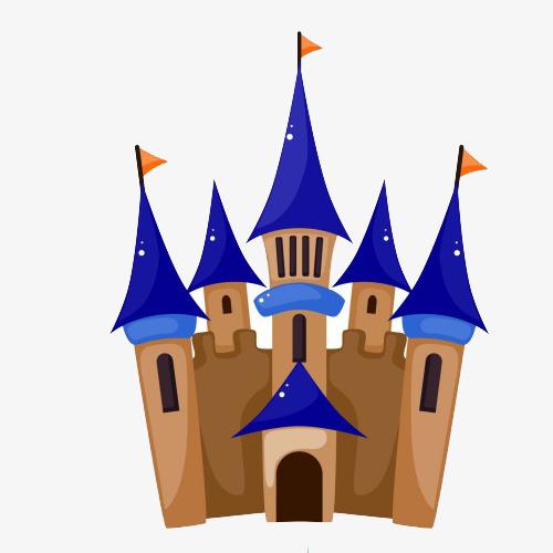 手绘棕蓝色旗子宫殿素材