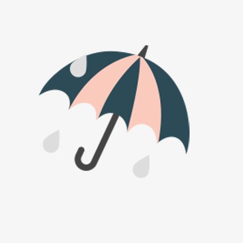 手绘雨伞雨点素材