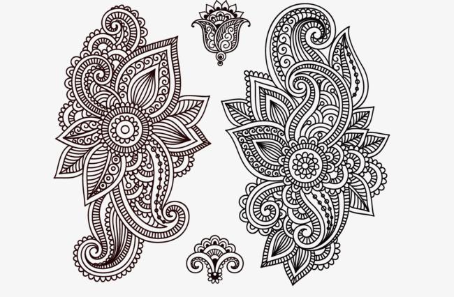 手绘古代纹样黑白画