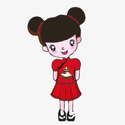 手绘卡通红衣丸子头女孩素材