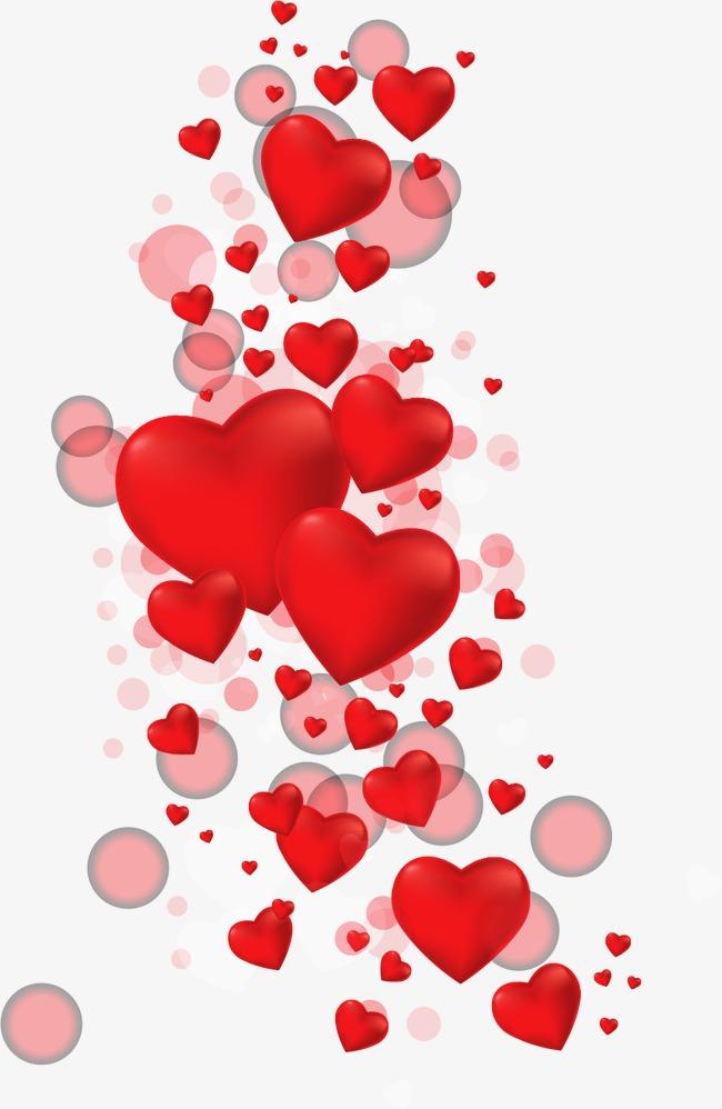 红色矢量心形气球元素素材