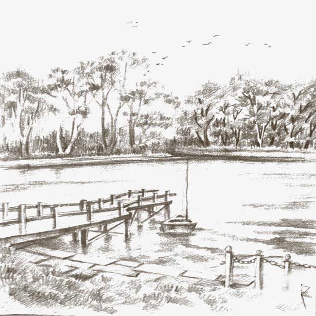线描湖水风景【高清装饰元素png素材】-90设计