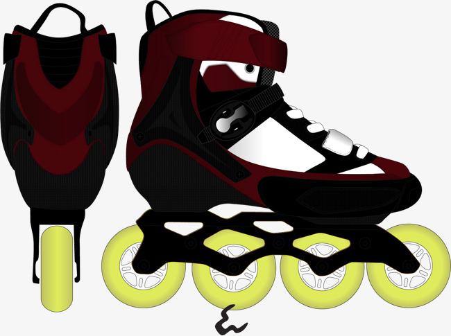 矢量手绘滑轮鞋