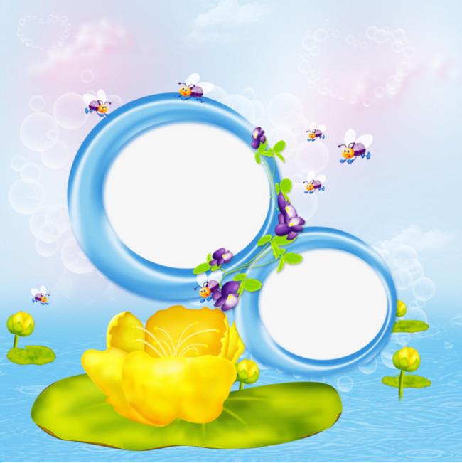 黄色花装饰的圆形边框png素材-90设计