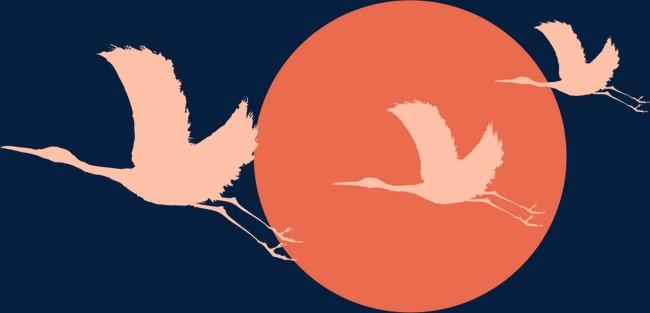 仙鹤红日矢量元素图片