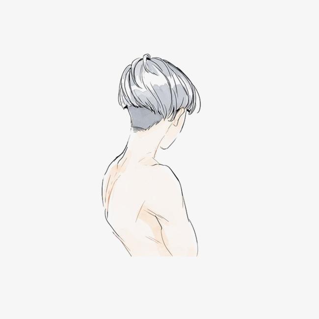 手绘男孩背影