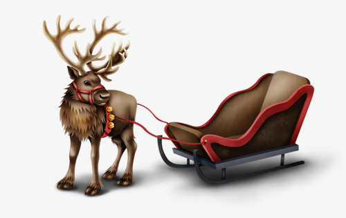 圣诞节麋鹿雪橇车图片