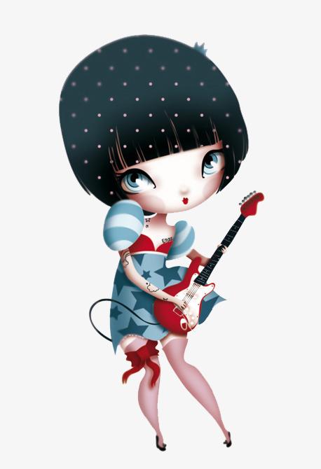 弹吉他的卡通女孩