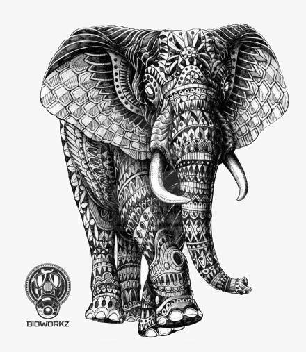 手绘大象纹身