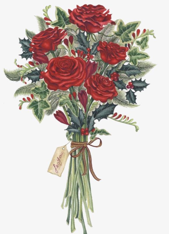 彩绘玫瑰花束卡通手绘玫瑰花束花卉一束鲜花漫画花束彩绘玫瑰花束情人节红色红玫瑰