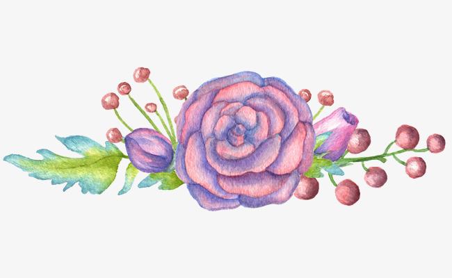清新森系水彩紫色花朵花边