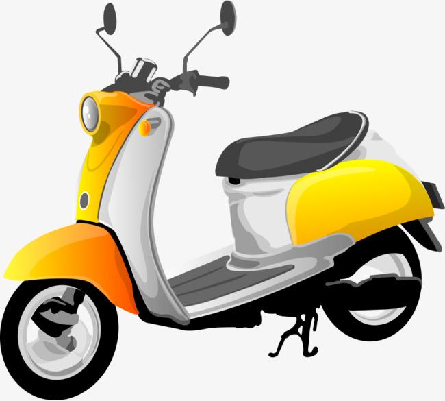 卡通手绘女装黄色摩托车