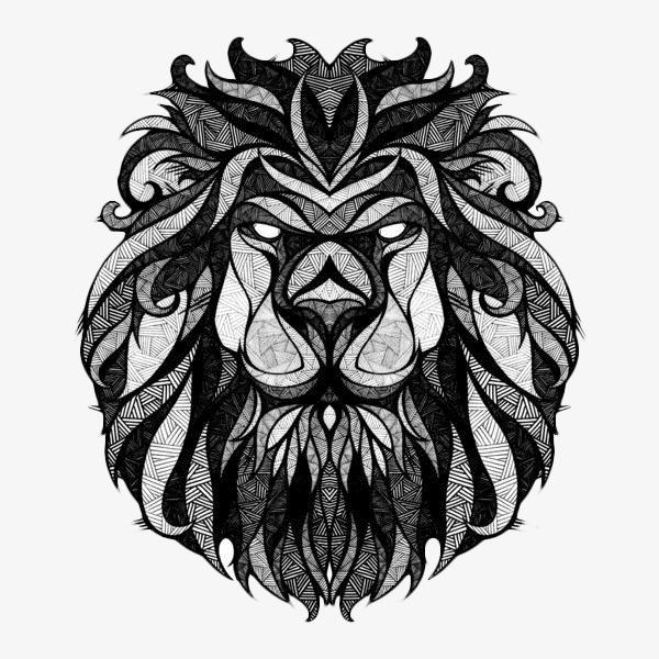 黑白创意狮子头图片