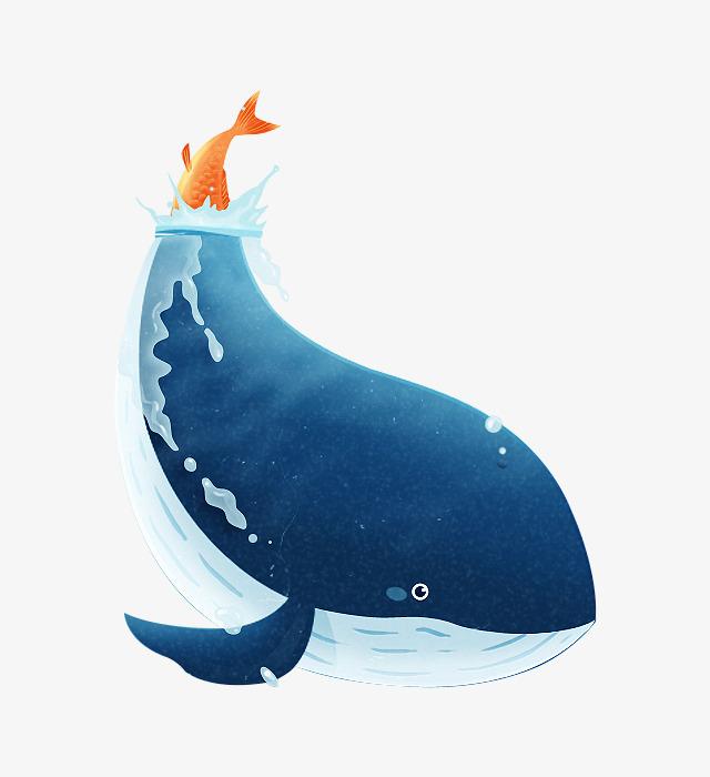 蓝色创意手绘鲸鱼