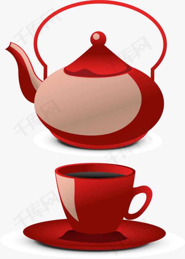 矢量手绘茶壶茶杯素材图片免费下载 高清卡通手绘psd 千库网 图片编号5505470