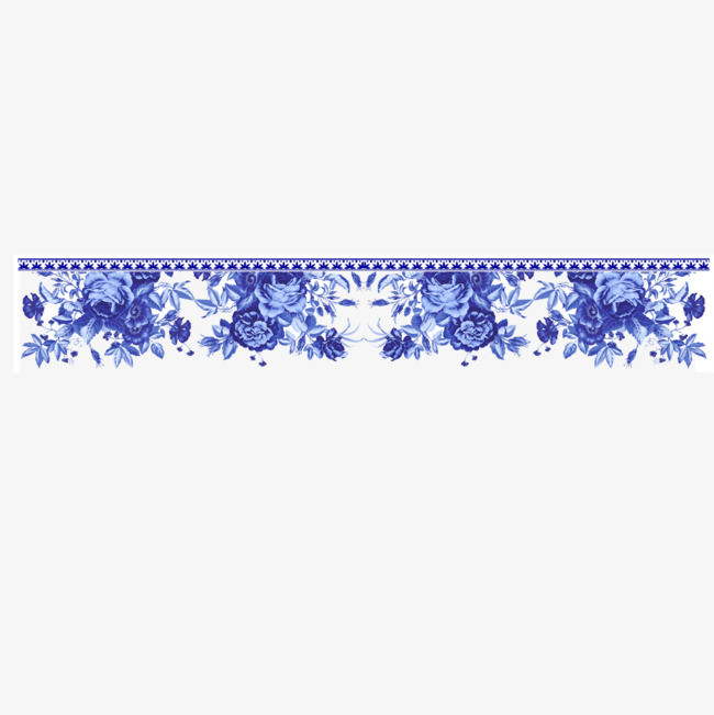 青花瓷边框装饰免抠png素材-90设计