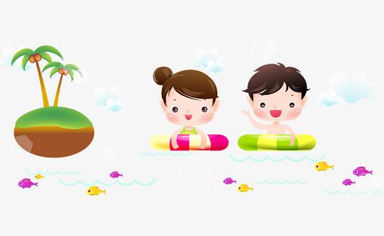 图片 > 【png】 卡通矢量带游泳圈游泳的孩子  分类:手绘动漫 类目