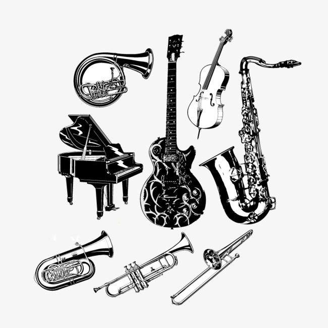 八款手绘黑白乐器