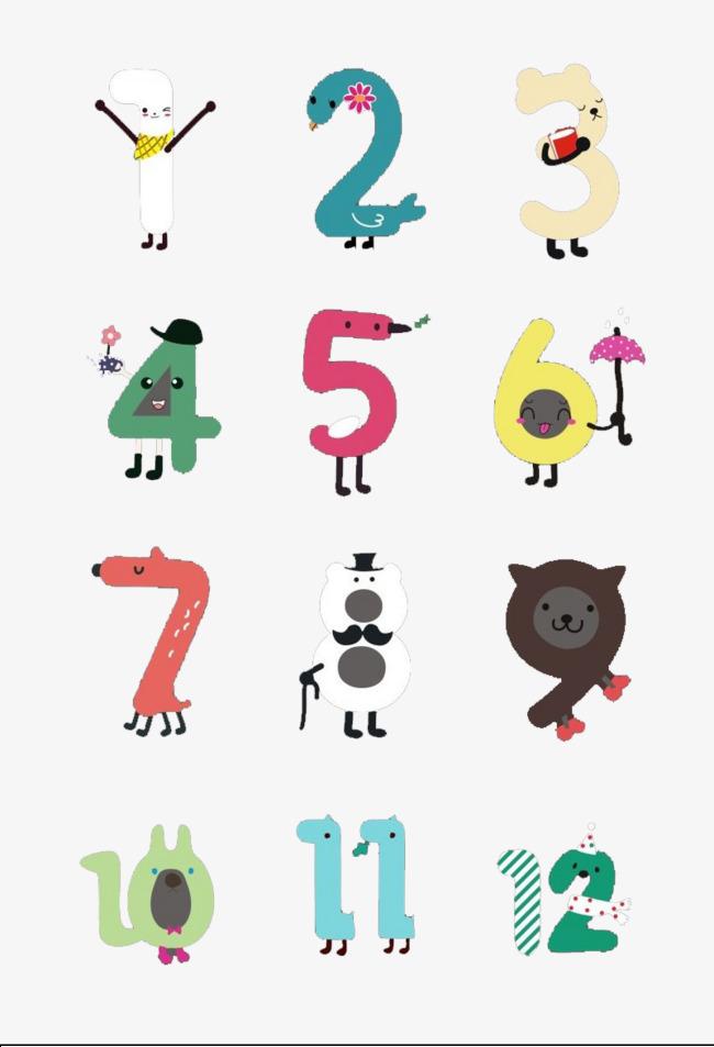 可爱卡通创意数字字体设计
