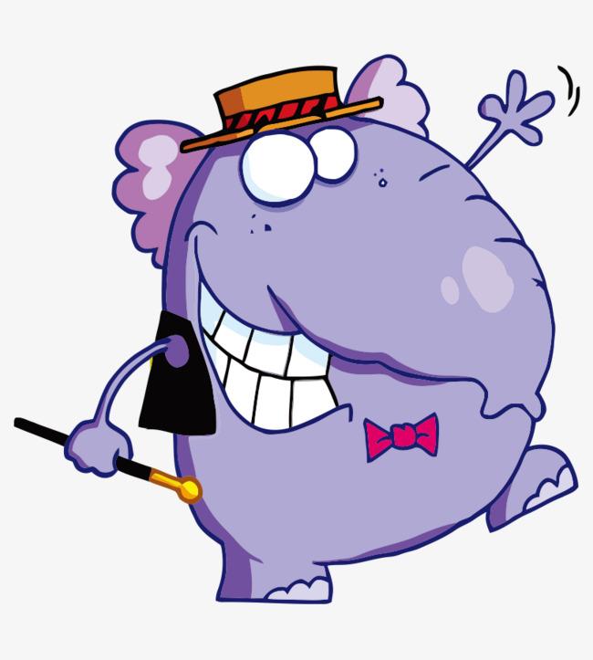 卡通手绘大笨象戴帽子魔术棒