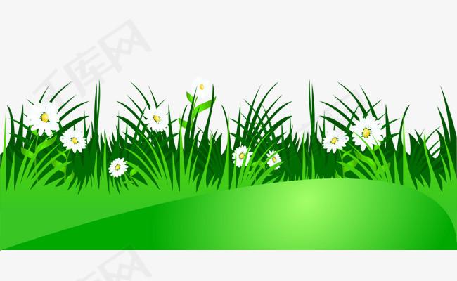卡通手绘翠绿草地花朵卡通的草丛翠绿的草地白色的花朵平面草丛素材矢量草丛