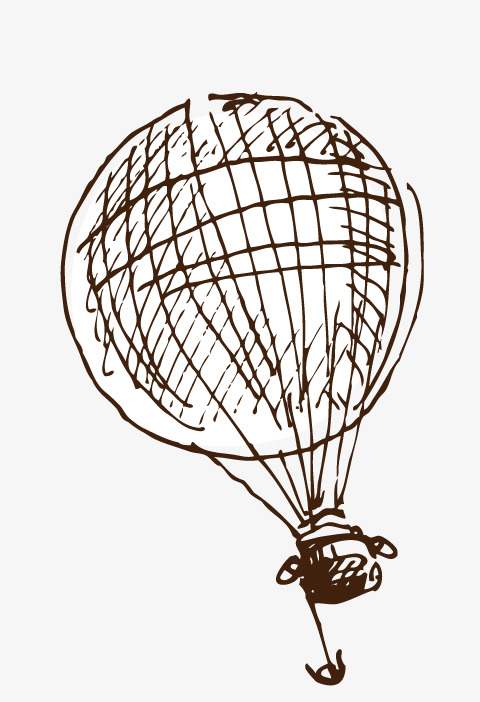 线稿热气球