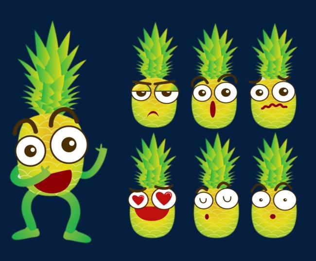 图片 卡通背景 > 【png】 卡通菠萝  分类:手绘动漫 类目:其他 格式