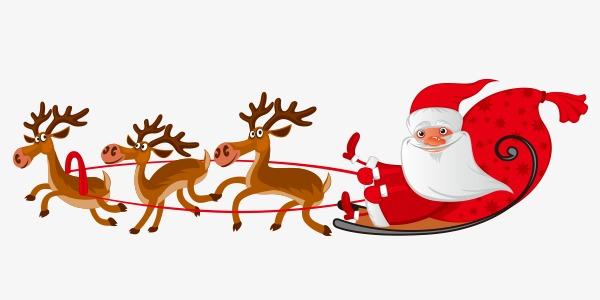 可爱麋鹿拉雪橇圣诞老人卡通手绘
