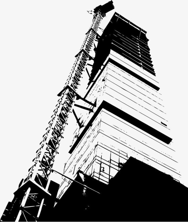 手绘黑白城市写字楼塔吊施工素材图片免费下载 高清卡通手绘psd 千库图片