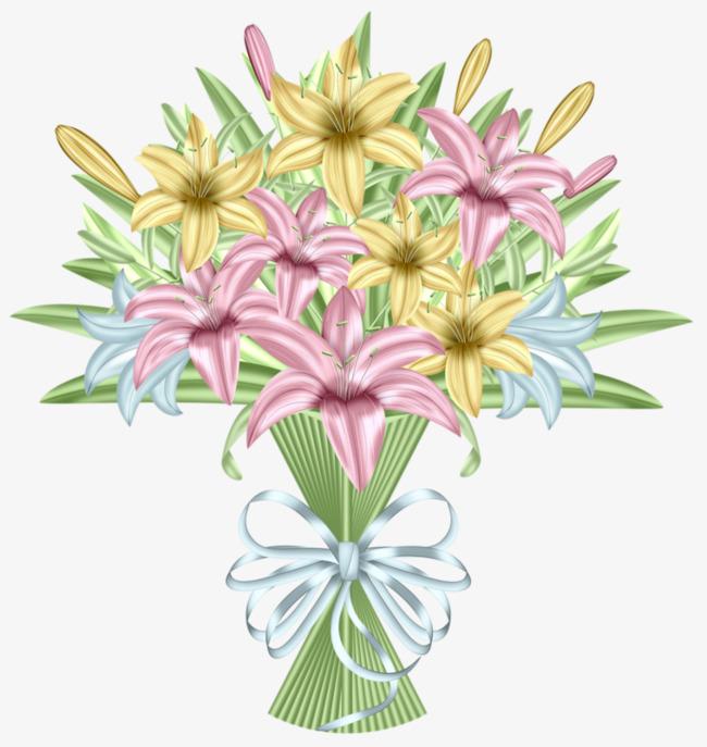 卡通手绘百合花