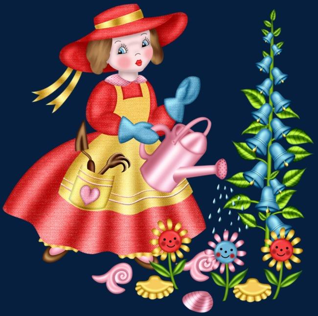 浇花的小女孩