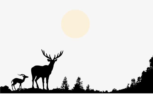 手绘黑白鹿山顶树林月亮剪影